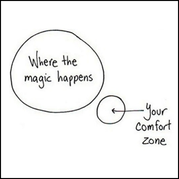 """Where the magic happens"" in big bubble, ""Your comfort zone"" in smaller, separate bubble."