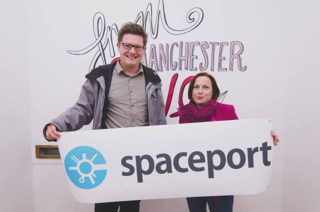 Chris Northwood and Zoe E Breen at SpacePortX launch networking