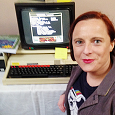 Zoe with BBC Micro running Elite game.