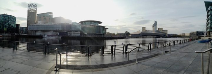 Panorama of Salford Quays facing towards Lowry Arts Centre