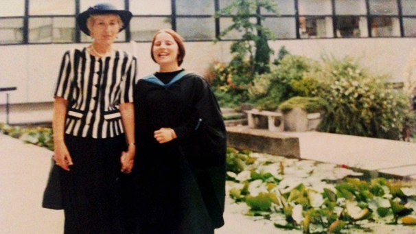 Granny with me on my graduation day in the gardens of the Shackleton Building.